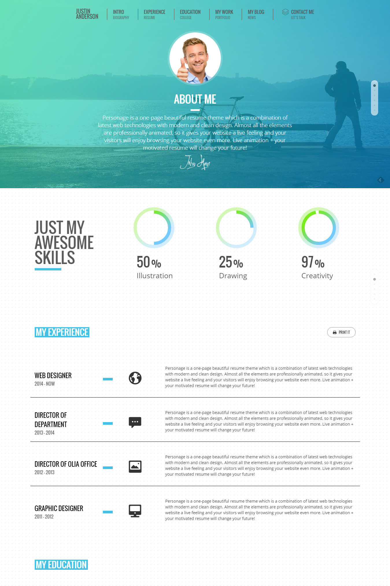 top 15 resume website templates in wordpress personage easy setup cv resume