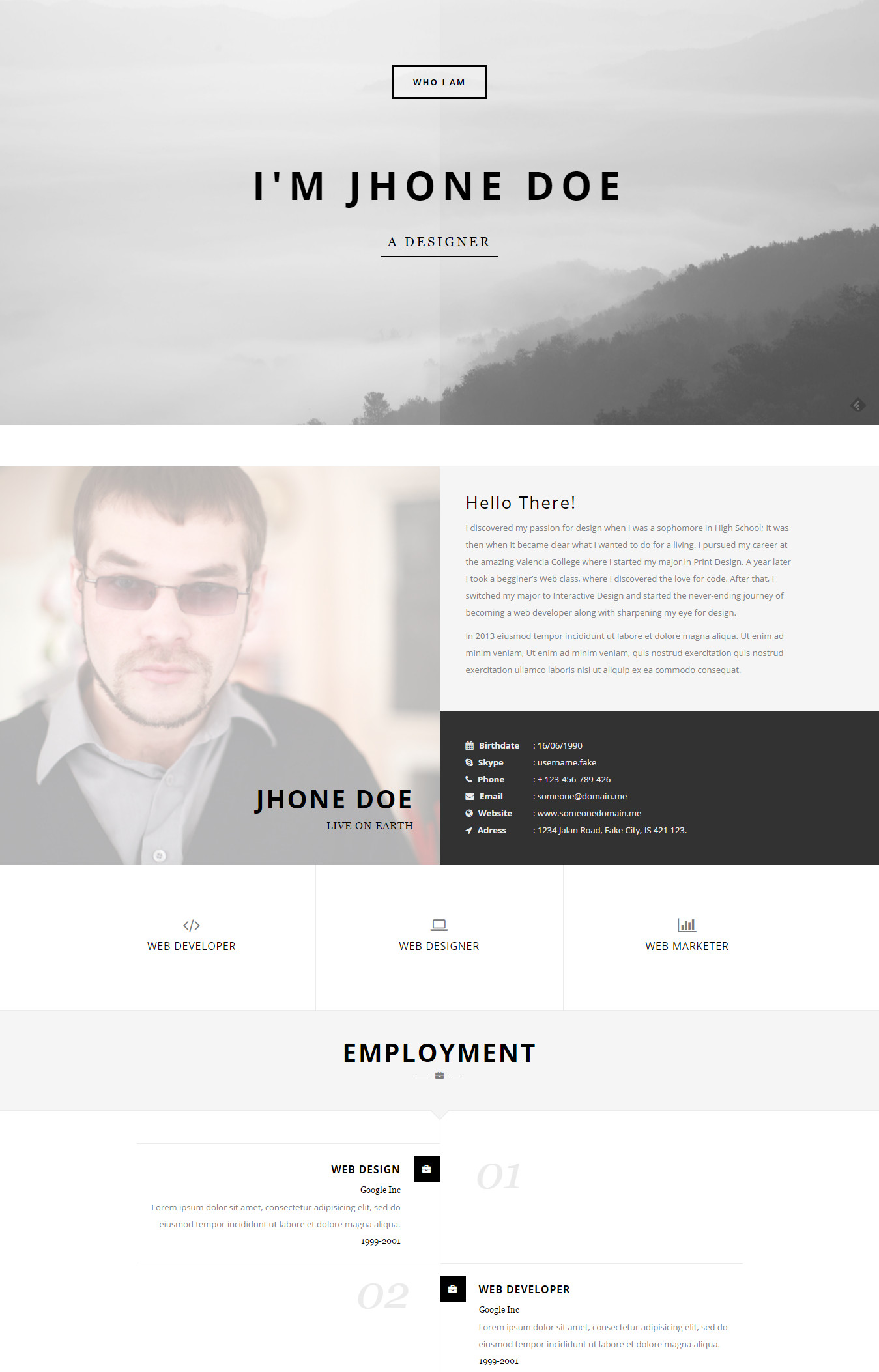 Who I Am   Personal Resume And Portfolio Theme  Personal Resume Websites
