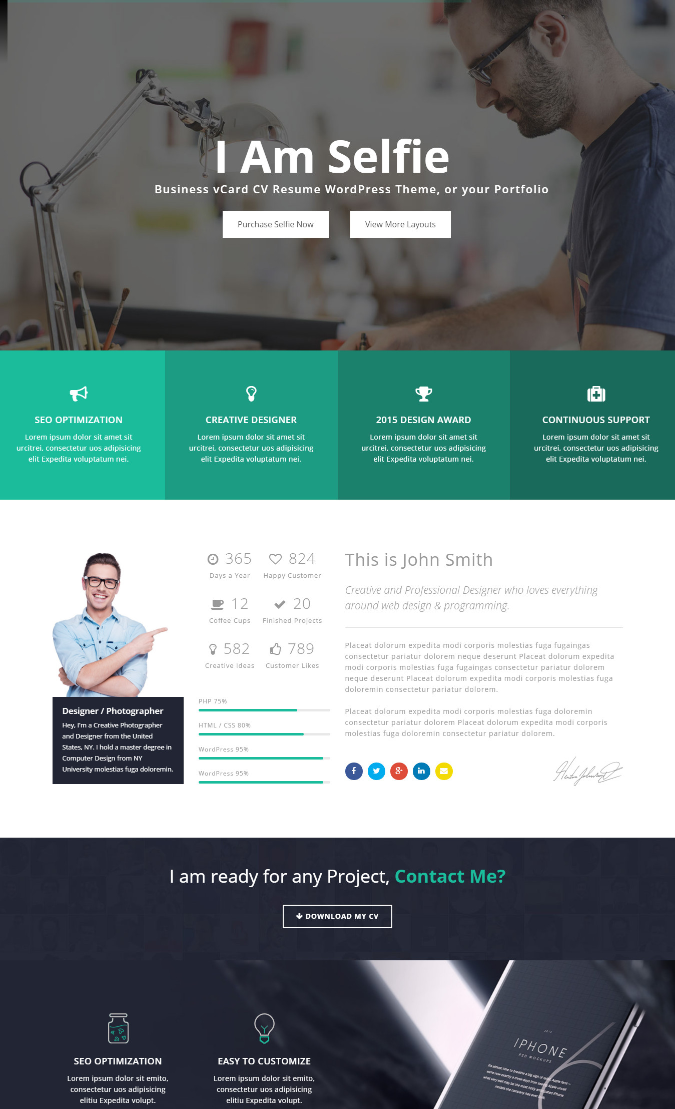 Selfie   Personal VCard CV Portfolio WP Theme  Resume Website Design
