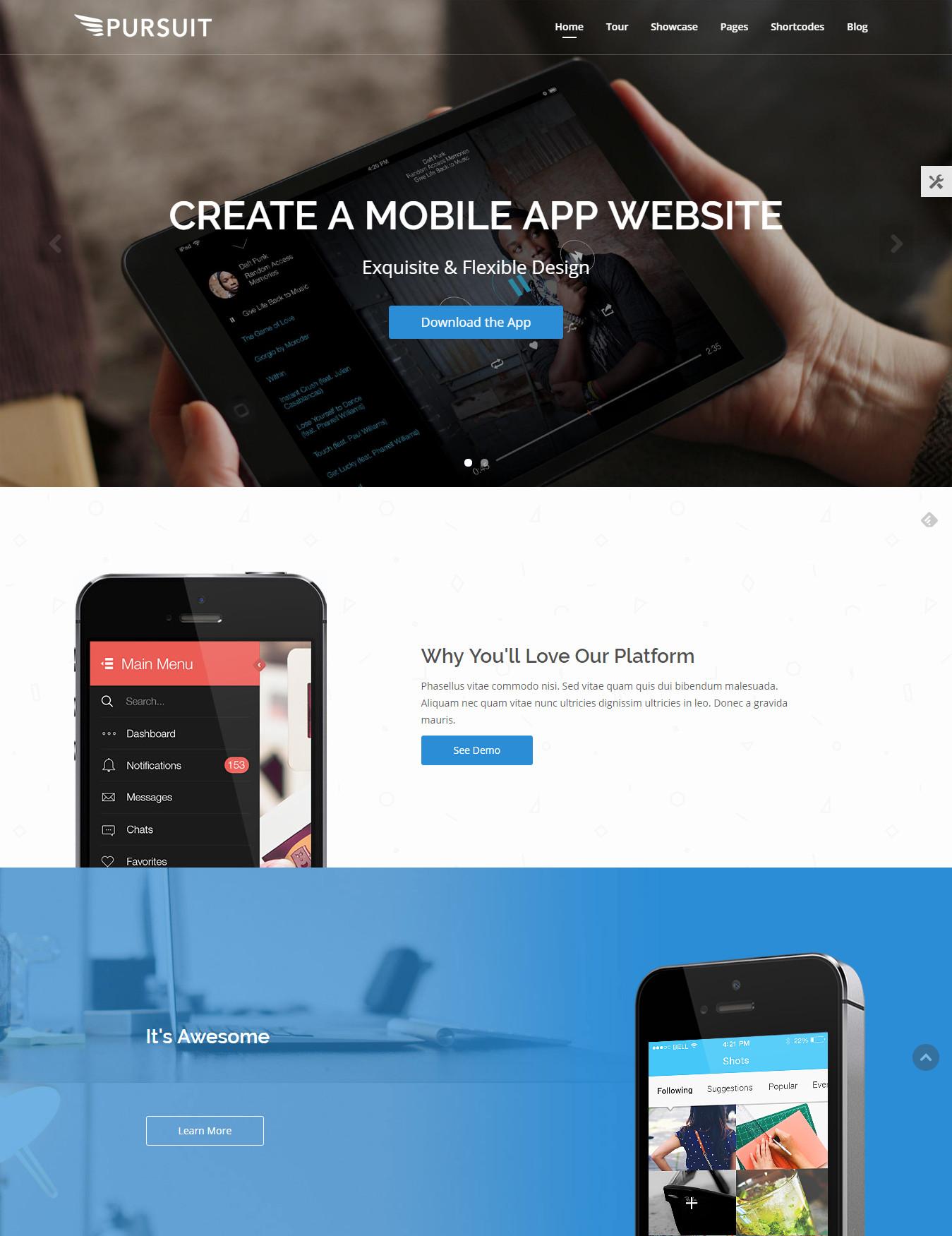 Pursuit - Flexible App & Cloud Software Theme