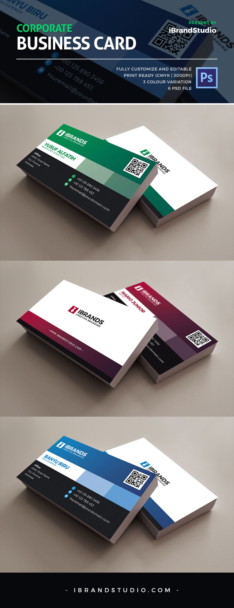 Free corporate business card template 3 colors for Business card colors