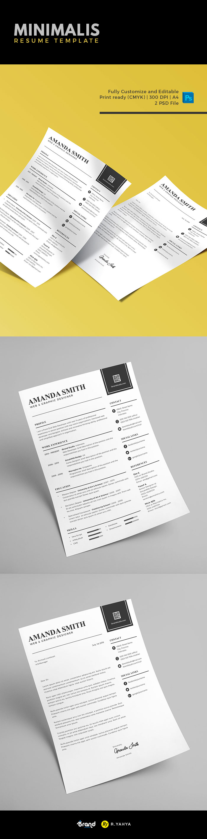 free minimalis resume cover letter