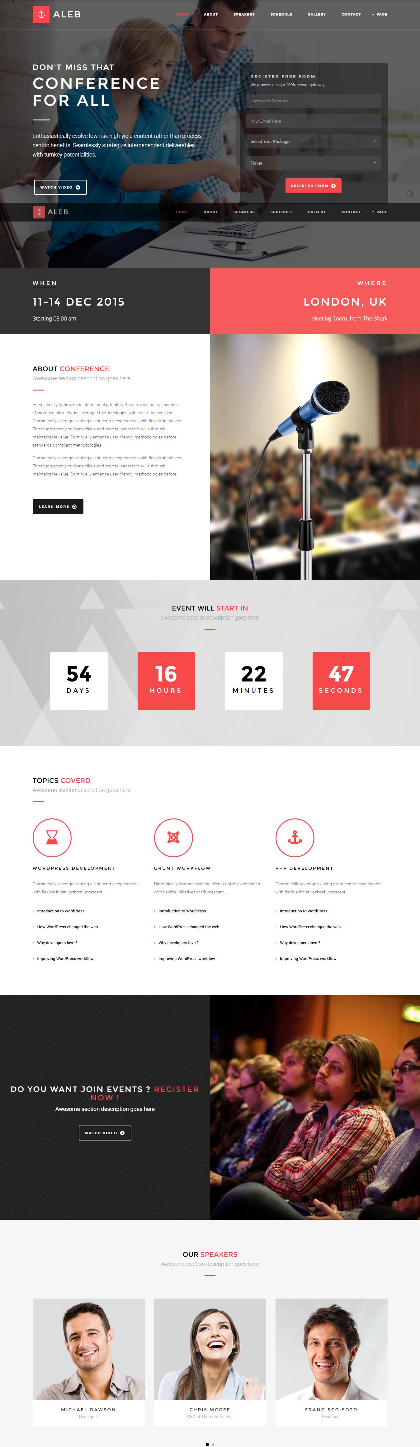 Aleb - Event & Conference Onepage WordPress Theme