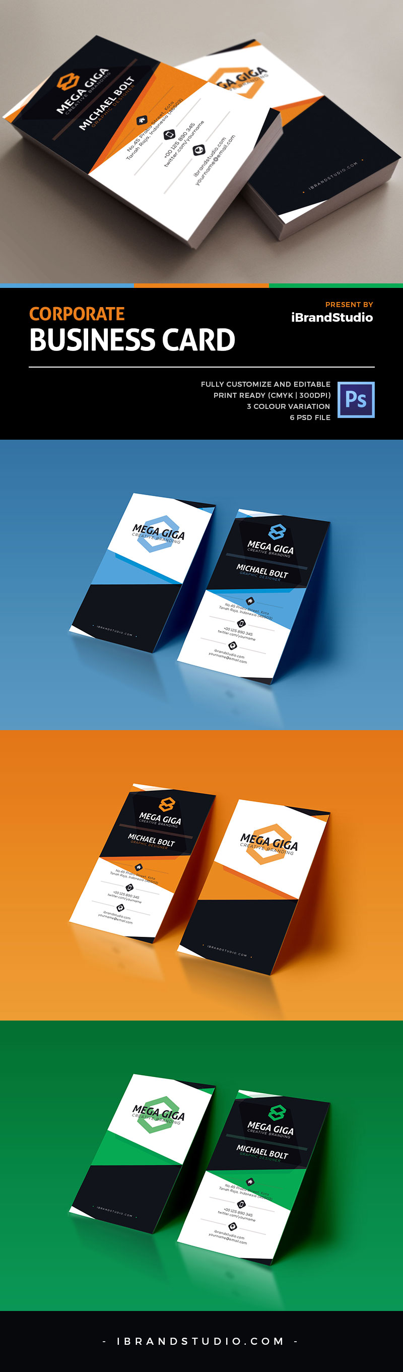 Free modern corporate business card template psd for Free modern business card templates
