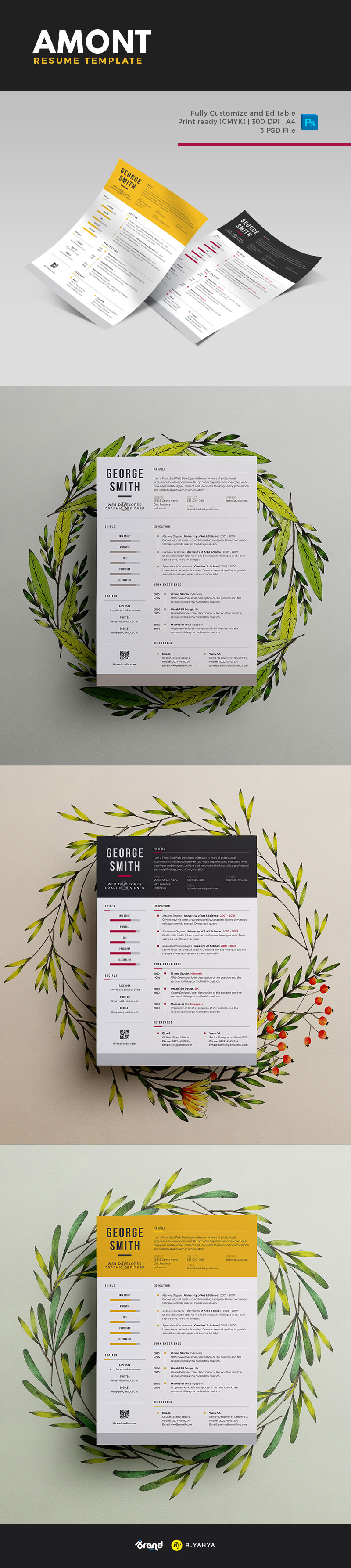 Free Amont Resume Template (PSD)