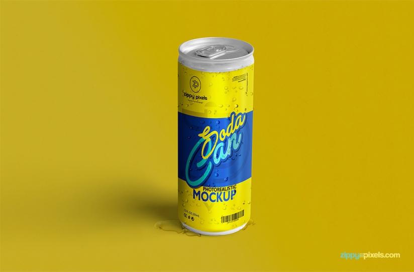 FREE REFRESHING SODA CAN MOCKUP by ZippyPixels