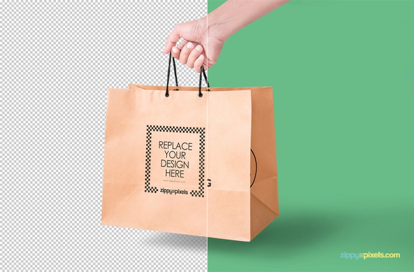 FREE PAPER BAG MOCKUP IN HANDHELD VIEW by ZippyPixels
