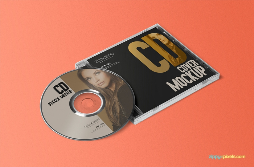 FREE STYLISH CD JEWEL CASE & LABEL STICKER MOCKUP by ZippyPixels