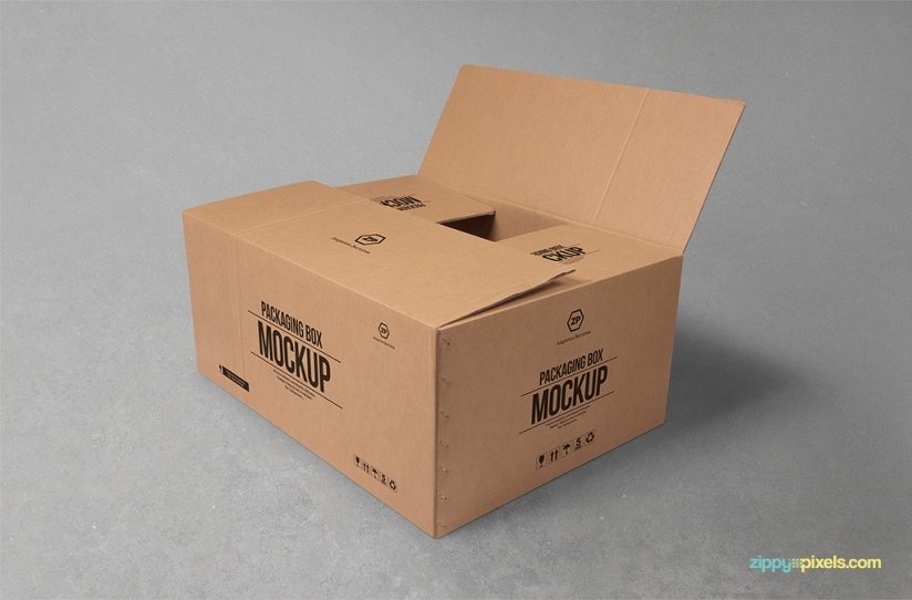 FREE CARDBOARD BOX MOCKUP FOR PACKAGING DESIGNS by ZippyPixels