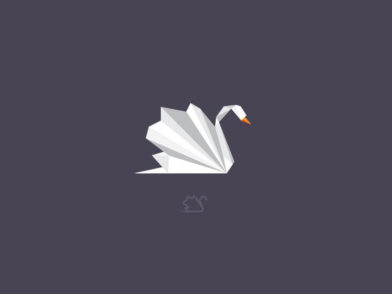 Ideas y Diseños de Logotipos tipo Origami o Plegados - Logo de cisne de Diana Hlevnjak