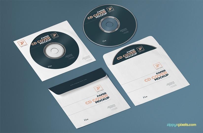 FREE ISOMETRIC PAPER CD COVER MOCKUP & CD MOCKUP GENERATOR by ZippyPixels