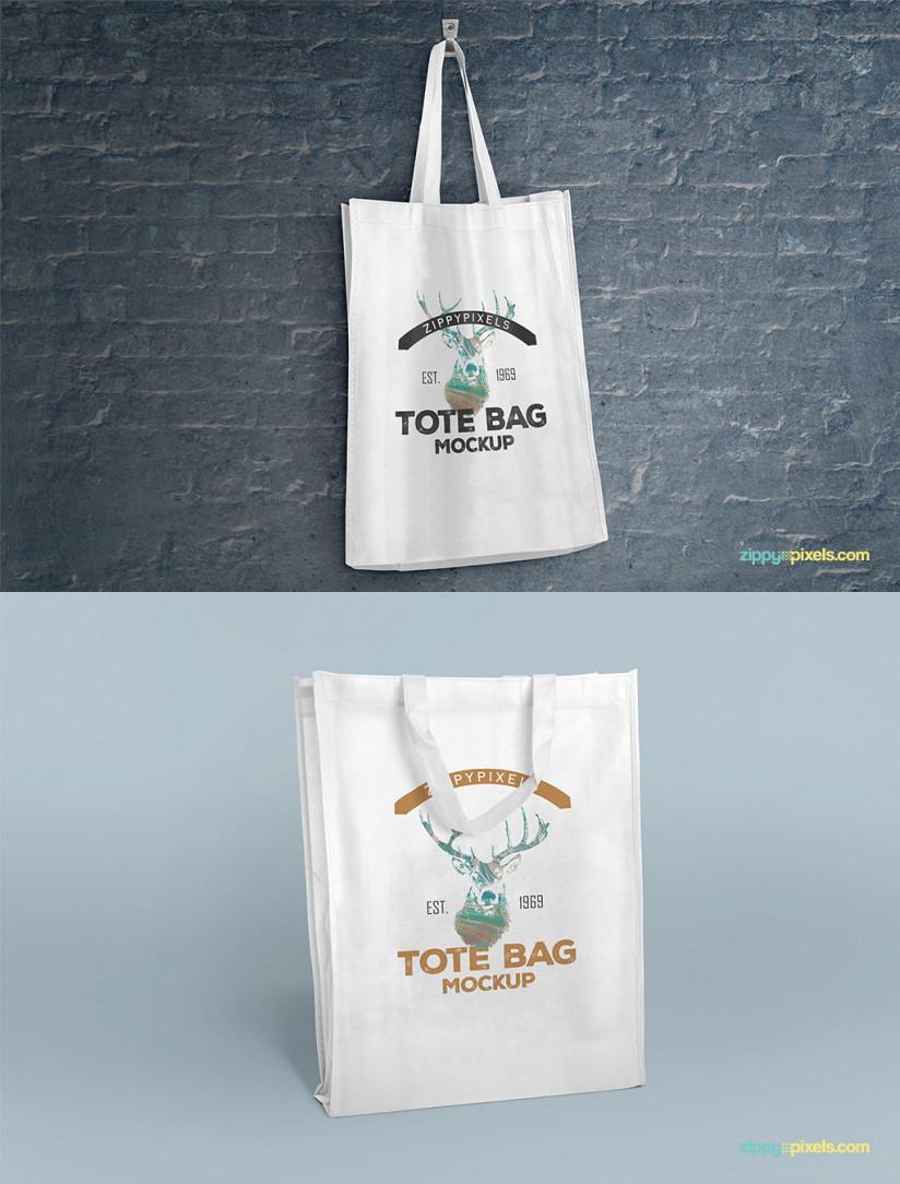 2 FREE TOTE BAG MOCKUPS VOLUME 1 by ZippyPixels