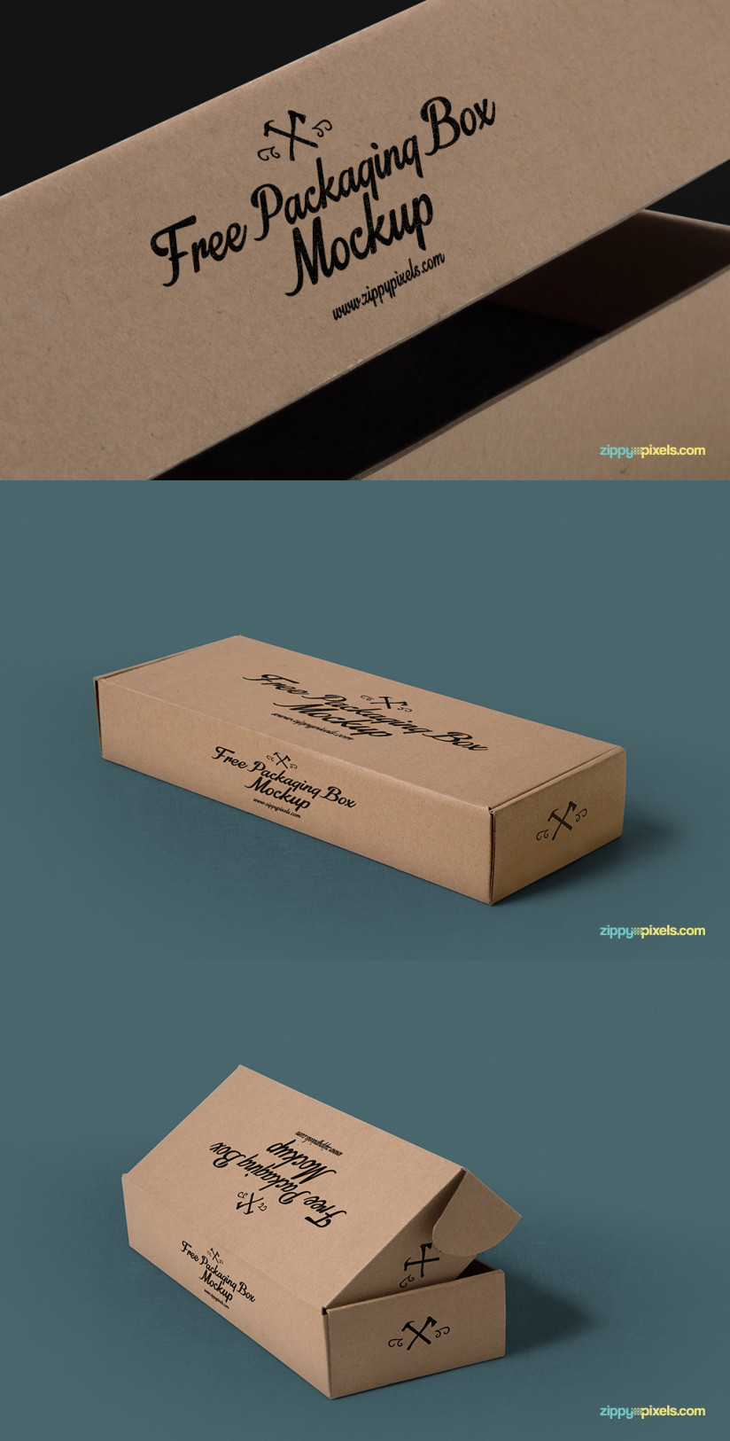 3 FREE PACKAGING MOCKUPS WITH CUSTOMIZABLE BACKGROUNDS by ZippyPixels
