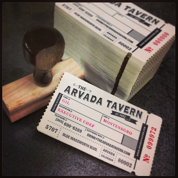 The Arvada Tavern Business Card