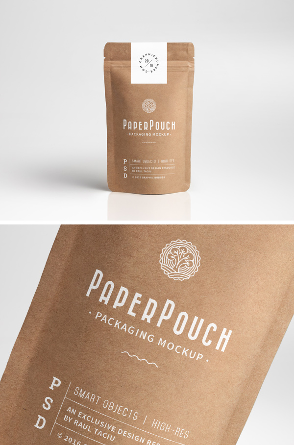 Paper Pouch Packaging MockUp by GraphicBurger