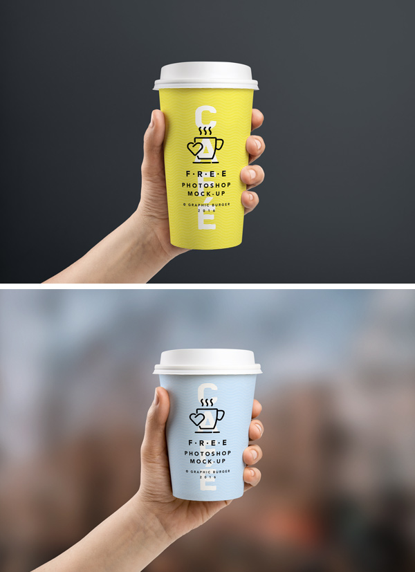 Coffee Cup In Hand MockUp by GraphicBurger