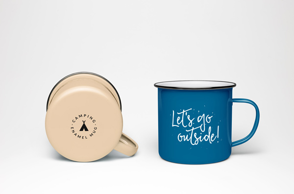 Enamel Mug PSD MockUp by GraphicBurger