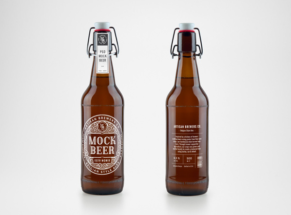 Artisan Beer Bottle MockUp by GraphicBurger