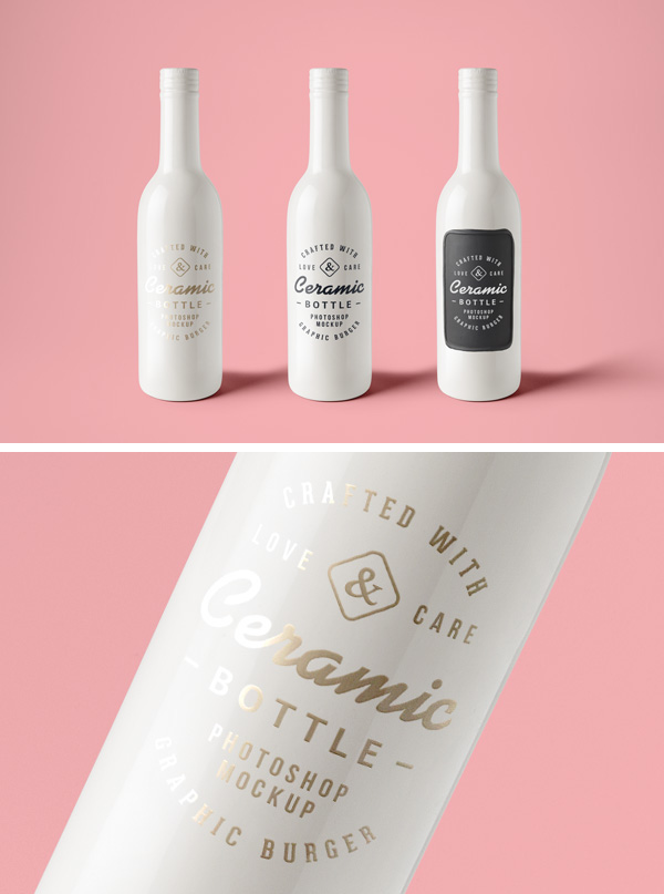 Ceramic Bottles PSD MockUp by GraphicBurger