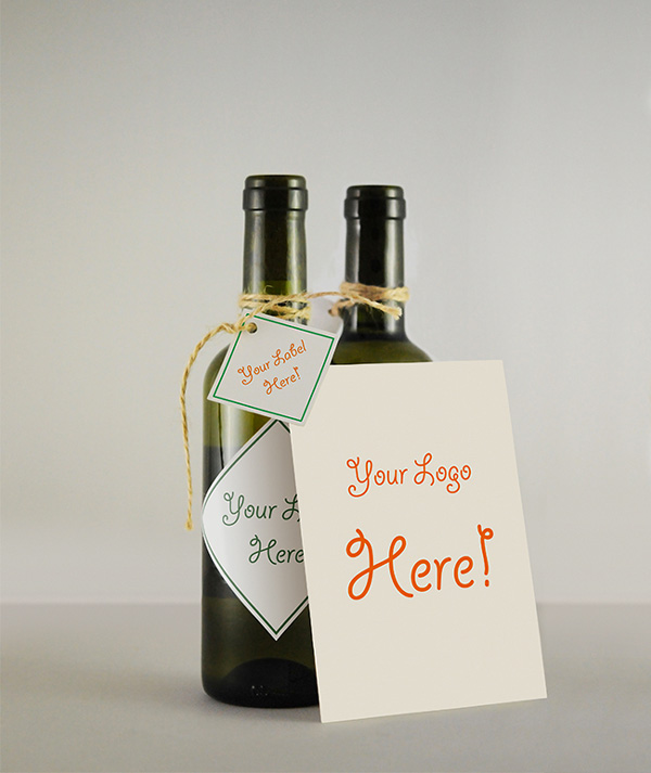 Wine Bottle & Greeting Card MockUp by Victor Cazac