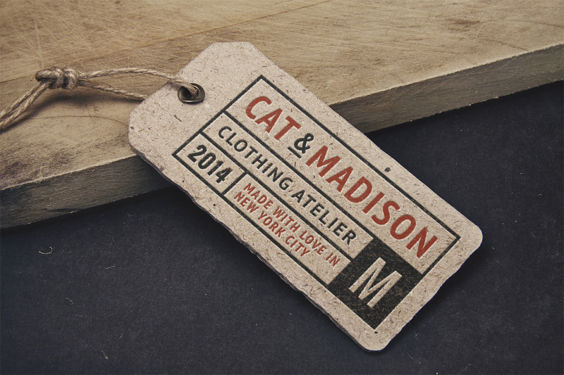 Vintage label tag mockup by graphicburger