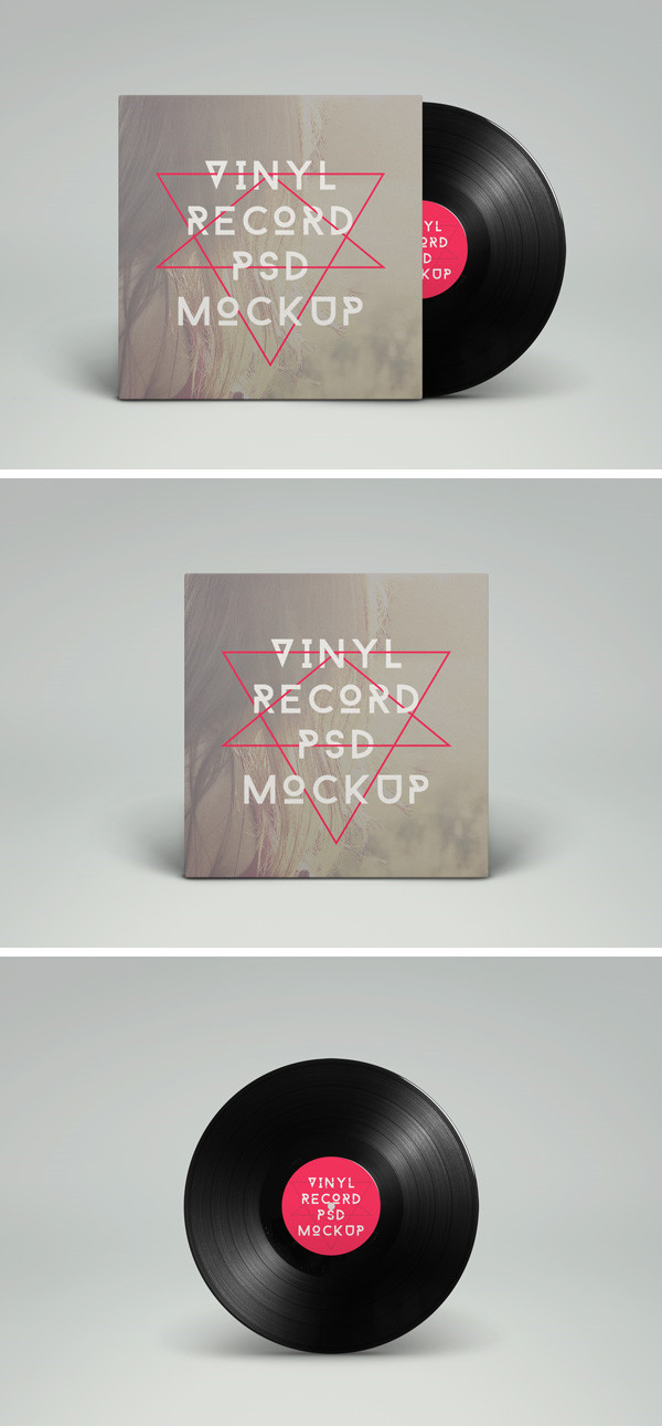 Vinyl Record PSD MockUp by GraphicBurger