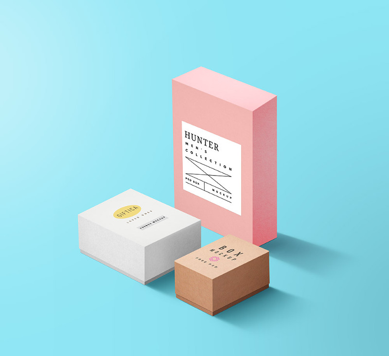 Packaging Boxes Mockup PSD by GraphicsFuel