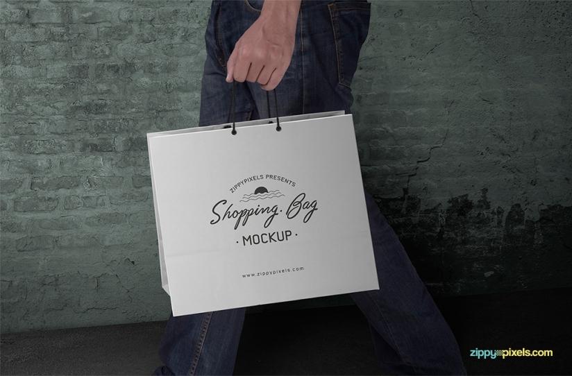 FREE CUSTOMIZABLE SHOPPING BAG MOCKUP PSD by ZippyPixels
