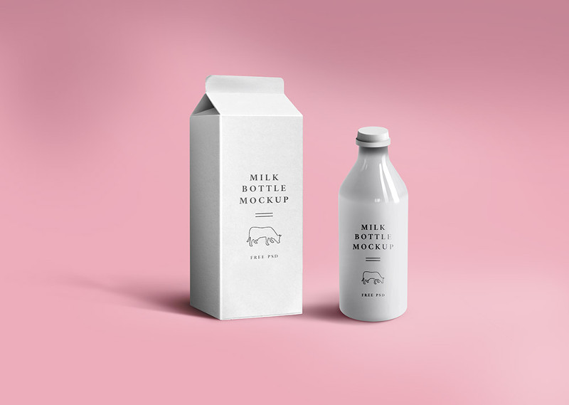 Milk Packaging Mockup by GraphicsFuel