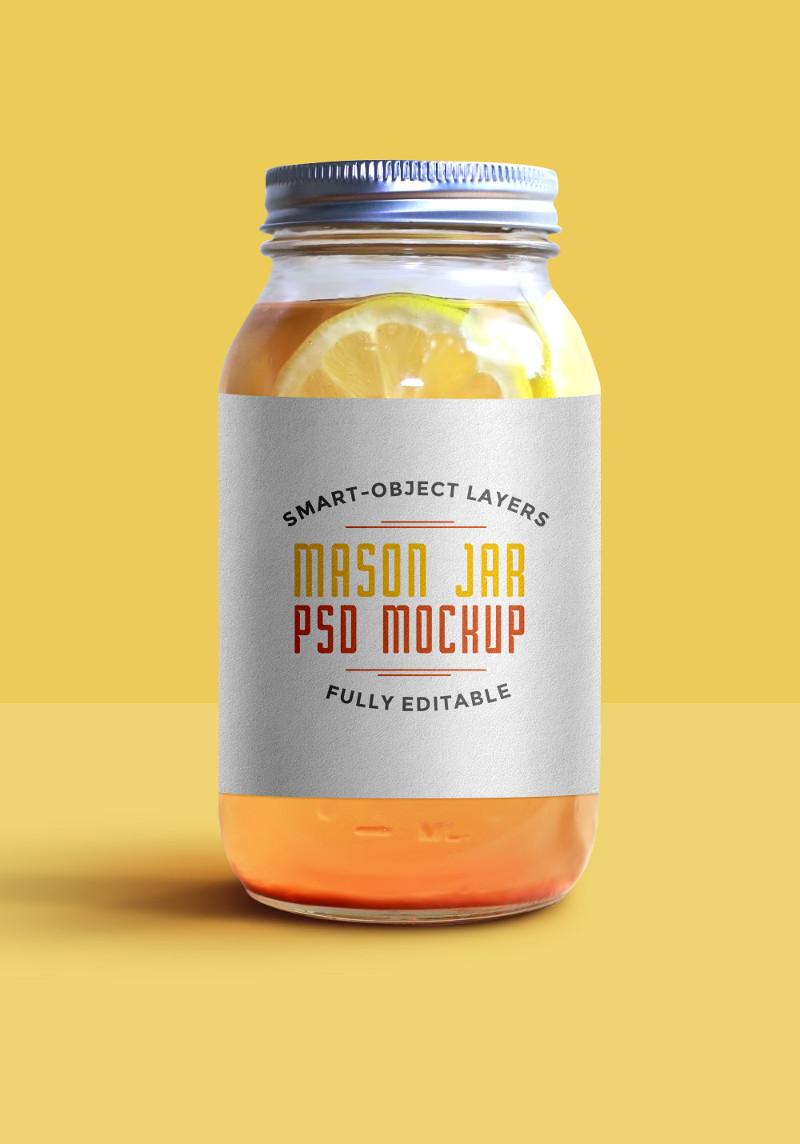 Mason Jar Mockup PSD by GraphicsFuel