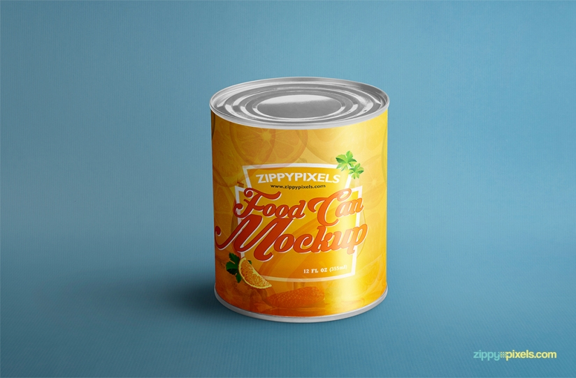 FREE FOOD CAN MOCK-UP FOR PRODUCT PACKAGING DESIGNS by ZippyPixels