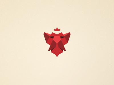 Ideas y Diseños de Logotipos tipo Origami o Plegados - cabeza de león - logo de Rafal Bromirski