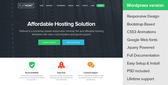 FlatHost WordPress Hosting Theme + WHMCS