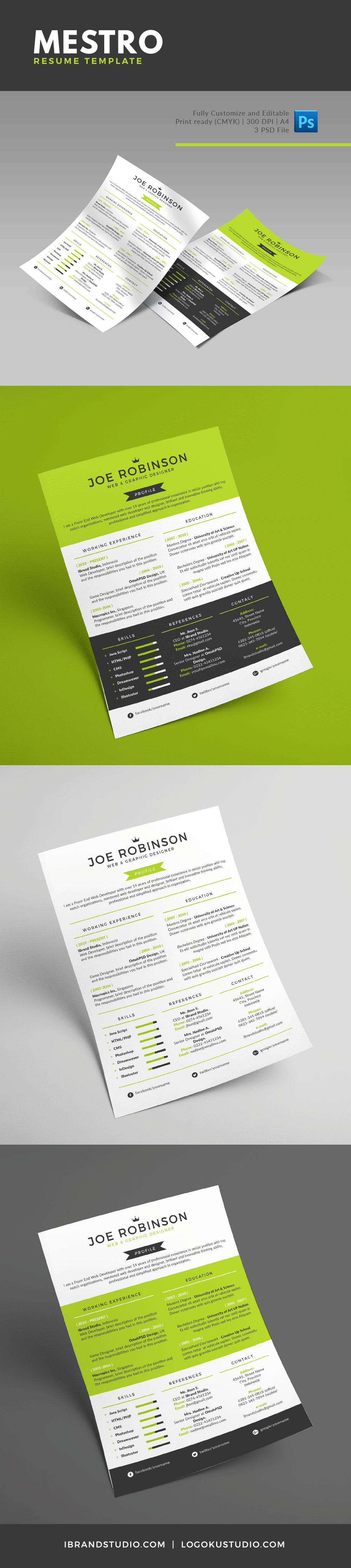 Free Mestro Resume Template - 3 Custom Colors