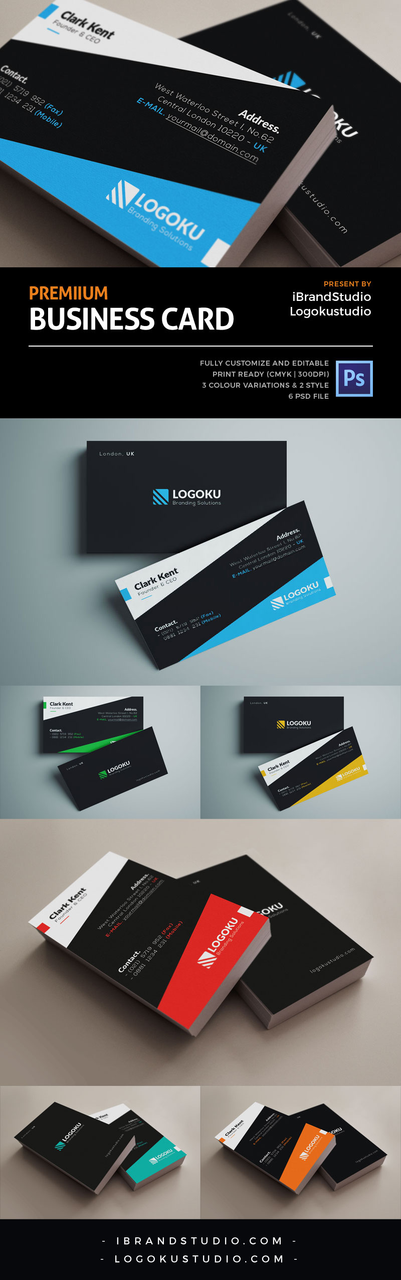 Free Vertical & Horizontal Corporate Business Card Template - iBrandStudio.com