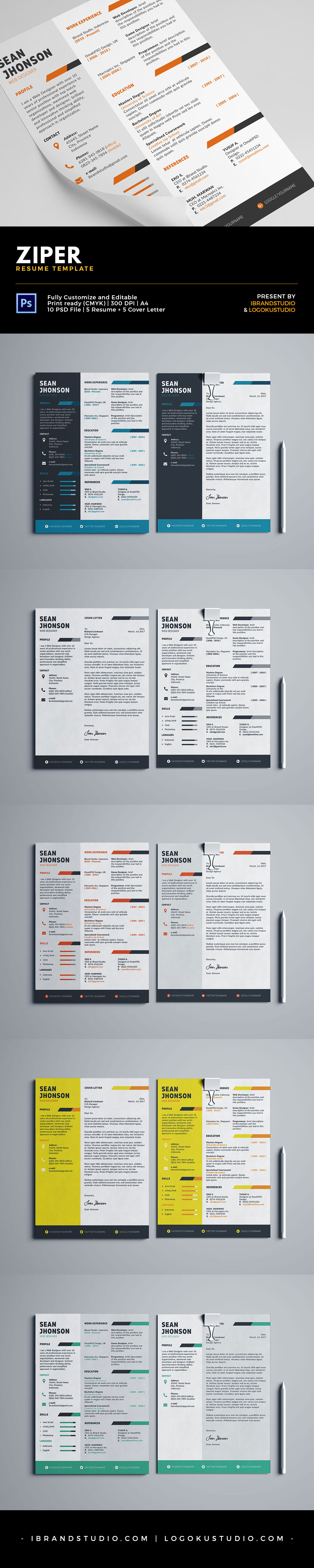 Free Ziper Resume Template And Cover Letter  Styles Psd