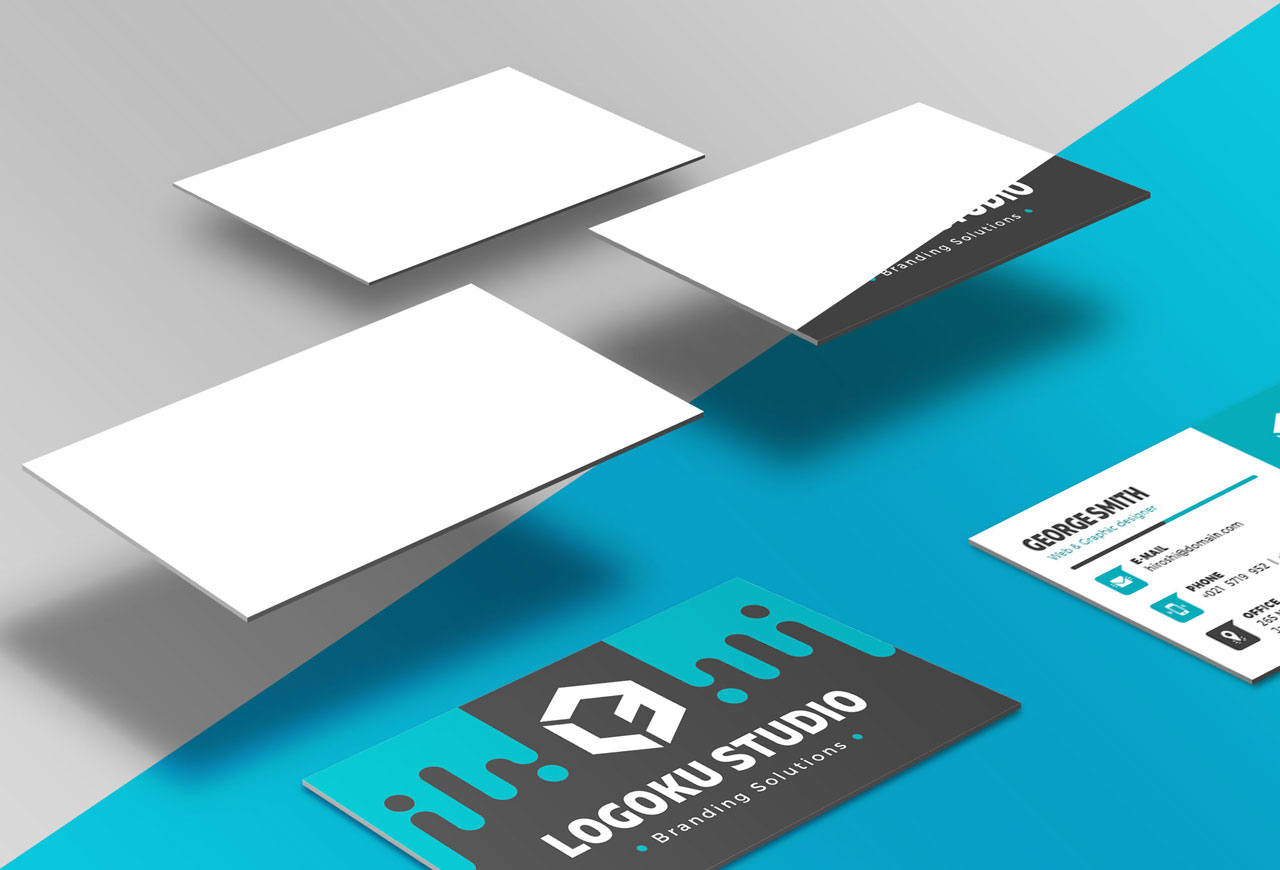 Free Floating Business Card Mockup (5 Scenes, PSD)