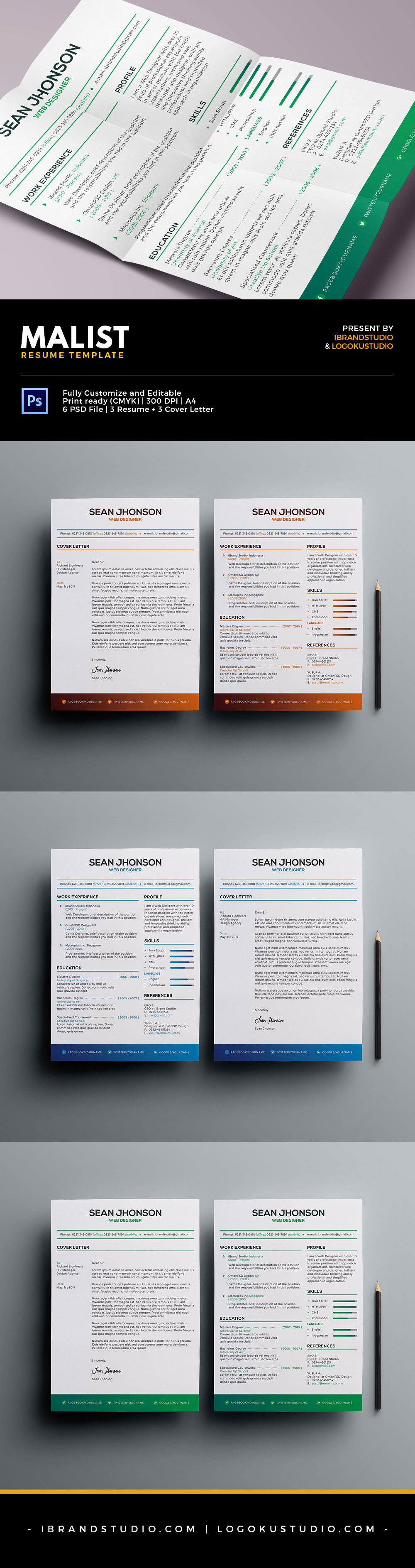 free malist resume template cover letter psd