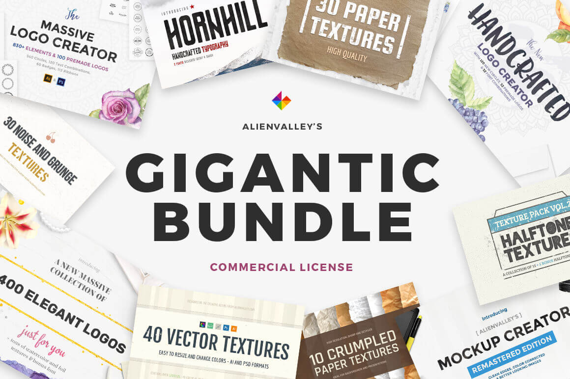 Gigantic Bundle of 1000+ Logos, Elements, Mockups, Textures - only $19!