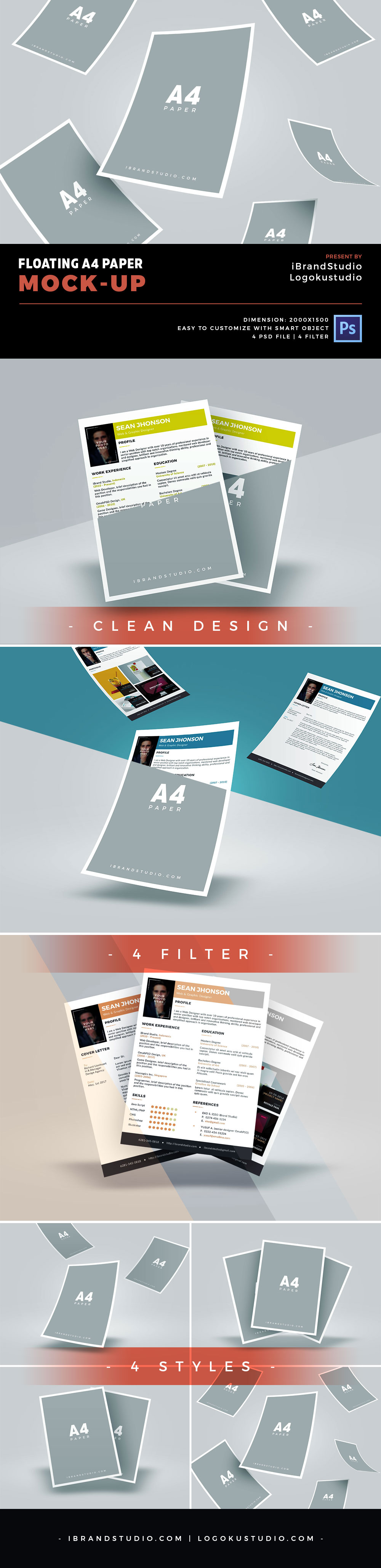 Free Floating A4 Paper Mockup Templates