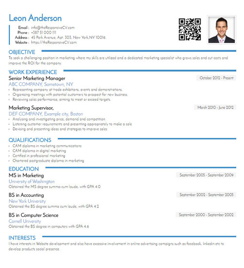 Exceptional Righteous Free Resume Template   ResponsiveCV  Linkedin Resume