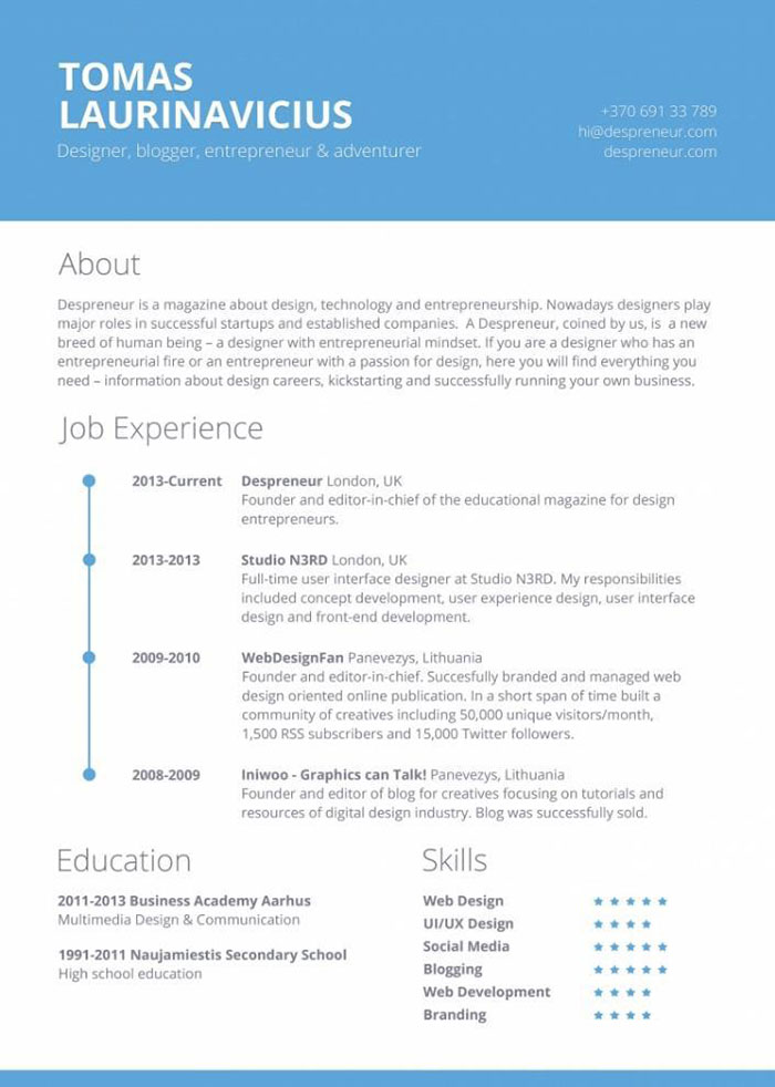 Resume Design by Tomas Laurinavicius