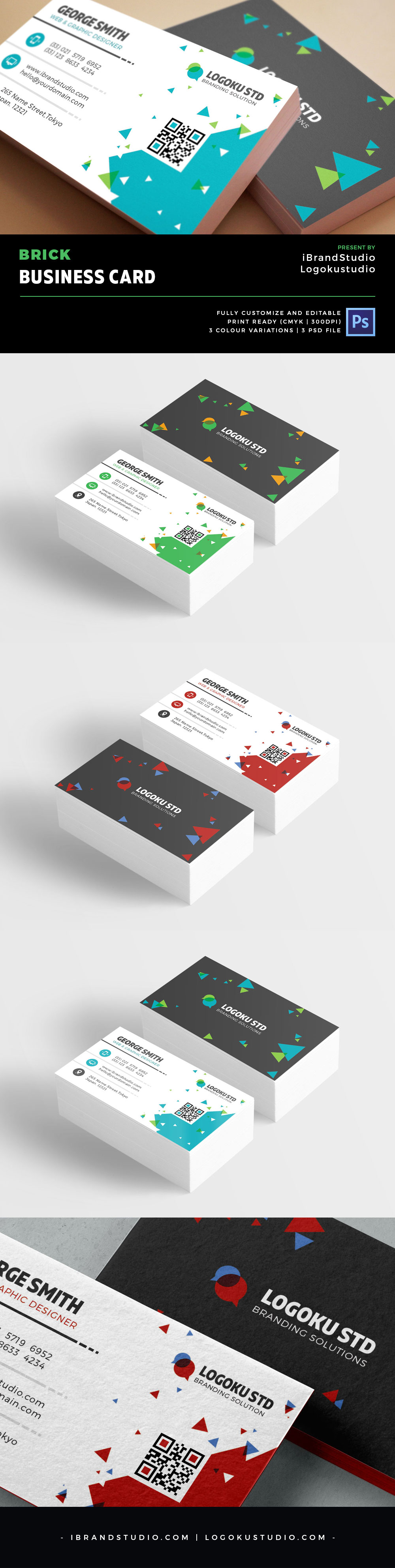 free brick business card template 3 colors psd