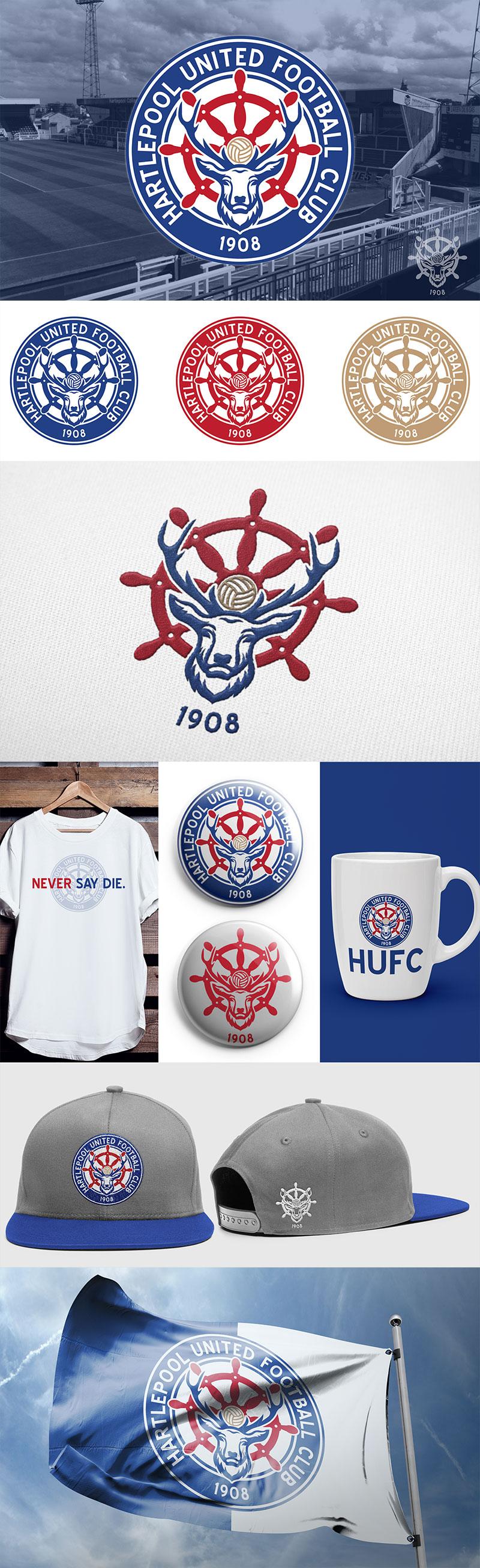 Diseños de marca de clubes de fútbol: Hartlepool United FC - Concepto de cresta de Nick Budrewicz