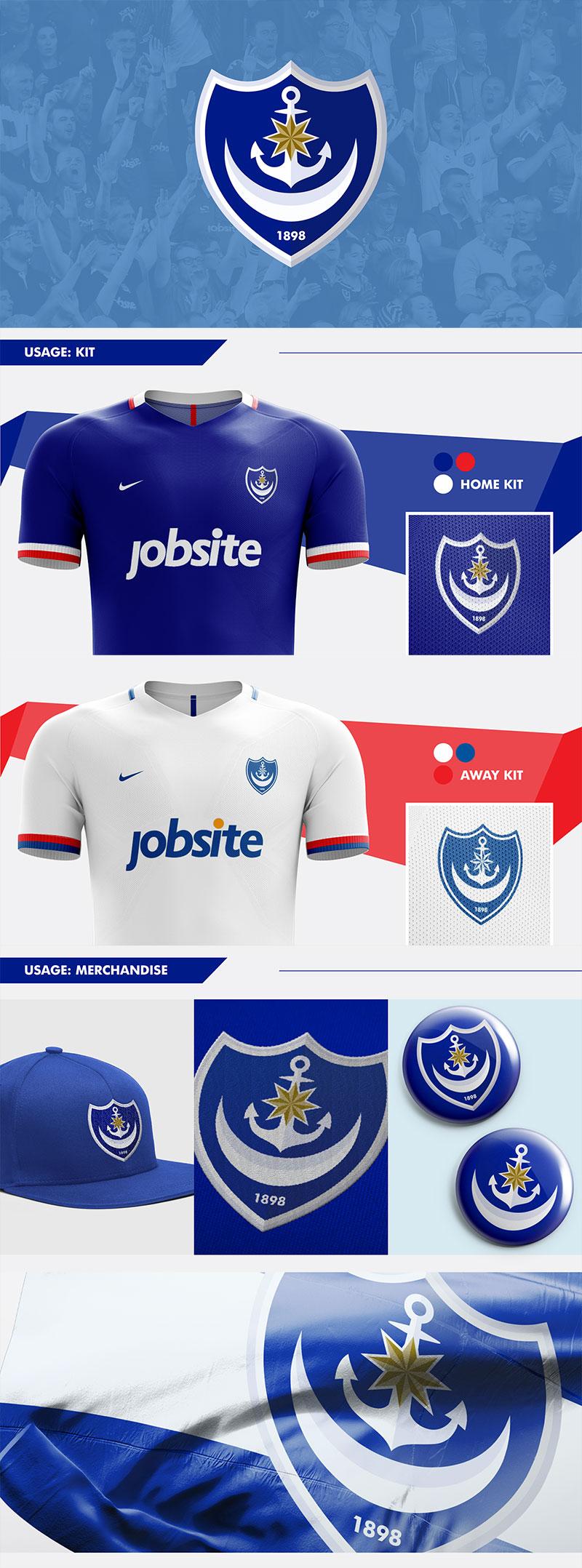 Diseños de marca de clubes de fútbol: Concepto de rediseño del escudo del Portsmouth FC por Nick Budrewicz