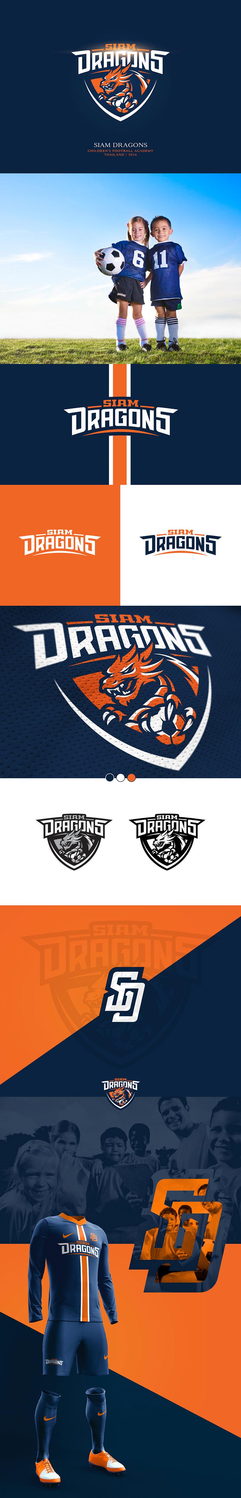 Diseños de marca de clubes de fútbol: Siam Dragons - Academia de fútbol infantil por Yury Orlov