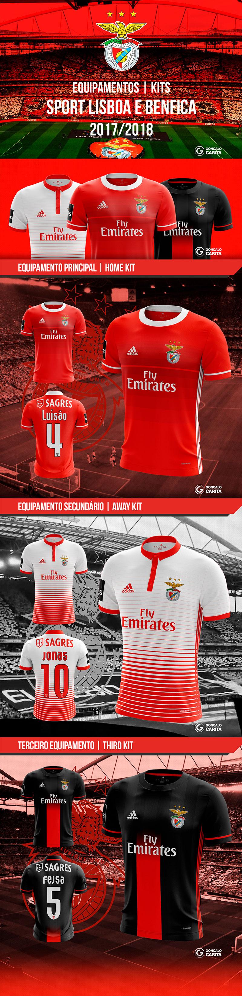Diseños de marca del club de fútbol: Sport Lisboa e Benfica - Kits conceptuales de Gonçalo Carita