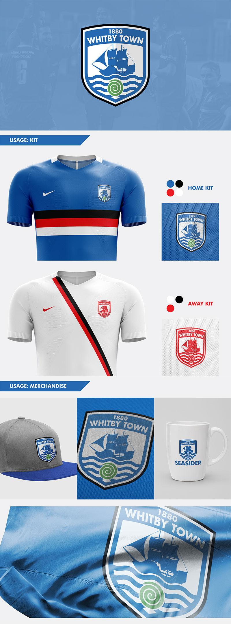 Diseños de marca de clubes de fútbol: concepto de rediseño del Whitby Town FC por Nick Budrewicz
