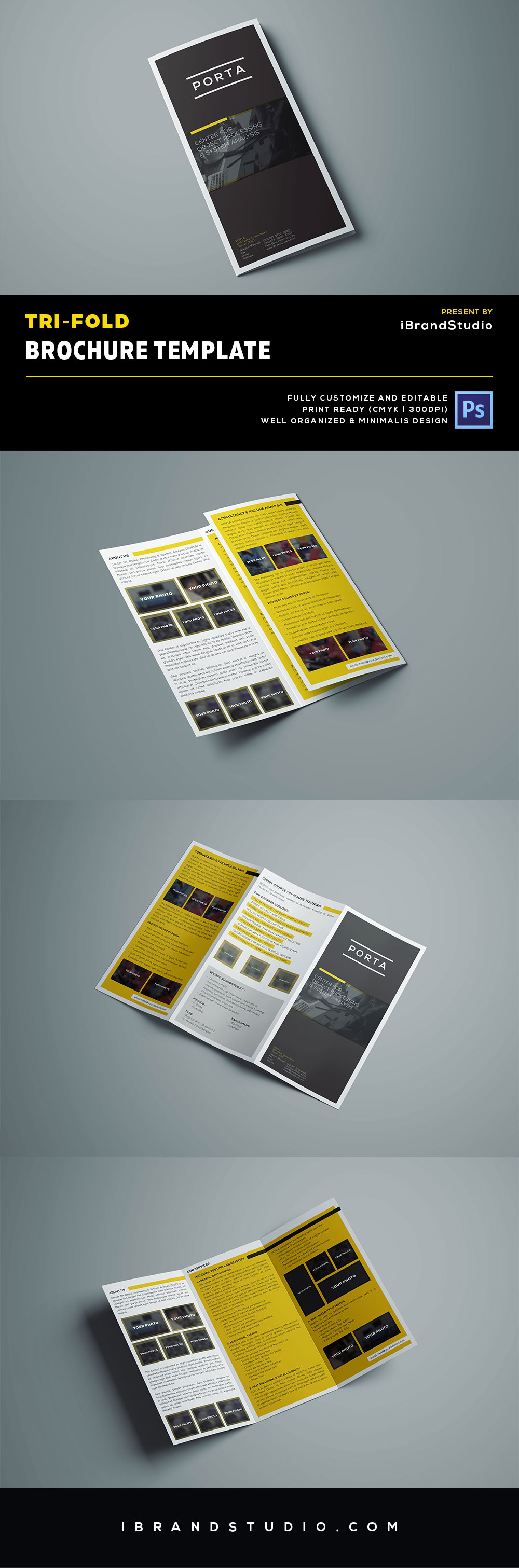Free tri fold brochure template psd ideal for event or for Tri fold brochure psd template