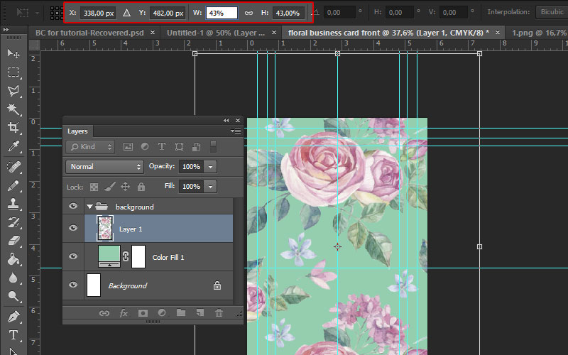How to make a print ready floral business card in adobe photoshop floral business card tutorial photoshop reheart Images